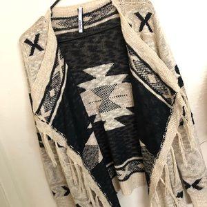 Petrol Aztec Knitted tassel Sweater